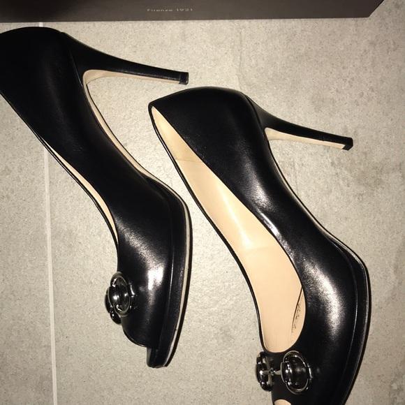 "8aa9715eecf0 Gucci Shoes - Authentic Gucci open toe horsebit Black 31 2"" heel"